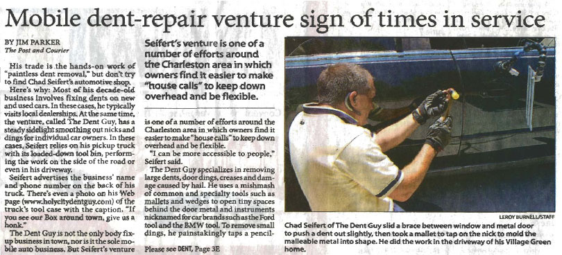 Paintless dent repair-Post & Courier article